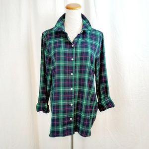 Gap Shirt Size S Holiday Green Plaid Long Sleeve